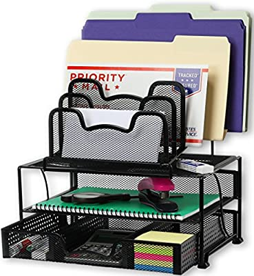 Desk Organizer with Sliding Drawer, Double Tray and 5 Stacking Sorter Sections