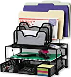 SimpleHouseware Mesh Desk Organizer with Sliding Drawer, Double Tray and 5 Stacking Sorter...