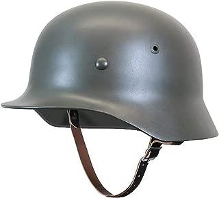 XYLUCKY Reproducción WW2 German Army M35 Steel Helmet con Forro de Cuero y Correa para la Barbilla (Gris)
