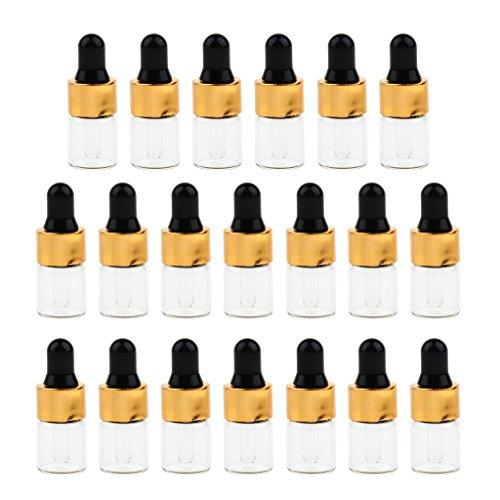 Hellery 20pcs Recharge Flacons Compte-gouttes Oeil Huile Essentielle Parfum Pipette Flacons Distributeur Pipette Maquillage Flacons échantillon - 2 ML