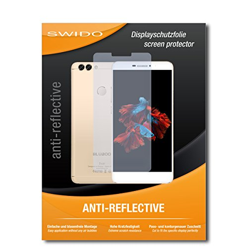 SWIDO Schutzfolie für Bluboo Dual [2 Stück] Anti-Reflex MATT Entspiegelnd, Hoher Festigkeitgrad, Schutz vor Kratzer/Bildschirmschutz, Bildschirmschutzfolie, Panzerglas-Folie