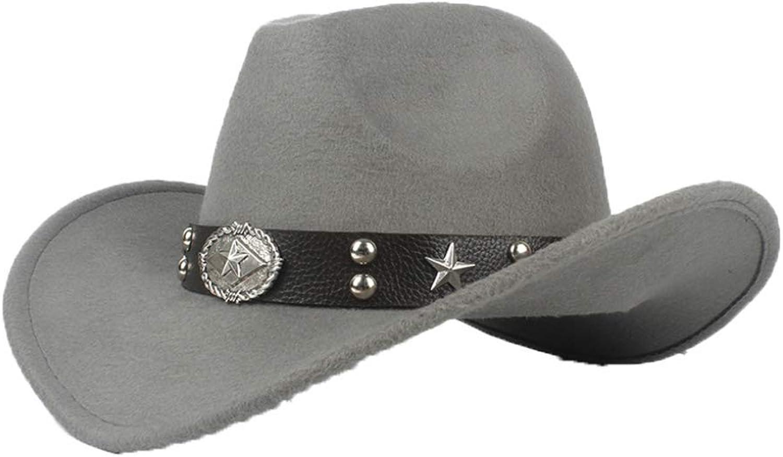 e27f6d40b2049 ASO-SLING Faux Felt Wide Brim Western Cowboy Cowboy Cowboy Hat Wool Outback  Cattleman Hat with Leather Belt c14da0
