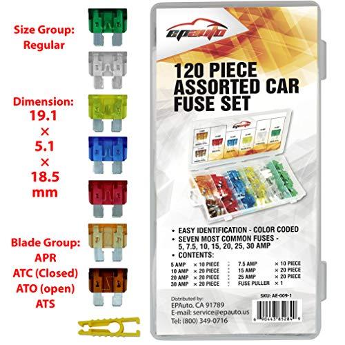 120 Pieces - EPAuto Assorted Car Truck Standard Blade Fuse Set (5/7.5/10 / 15/20 / 25/30 AMP)