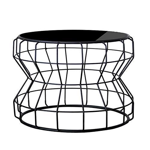 N/Z Tägliche Ausstattung Sofa Nachttisch Couchtisch Rundes schmiedeeisernes Wohnzimmer aus gehärtetem Glas BT Gold + Transparentglas
