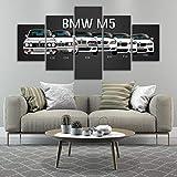 runtooer Impression sur Toile - 5 Pieces Tableau Decoration Murale Salon Photo Artistique Photographie Graphique BMW M3 M5 Voiture Sport Blanche Encadrée