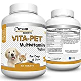 Vita-Pet Multivitamin Tablets for Dogs & Cats, CoQ10, Probiotics, Joint - Bone - Coat - Digestion - Vision - Heart Health, Minerals, Antioxidants, Non-GMO; 60 Day Supply Dog Vitamins up to 30 lbs