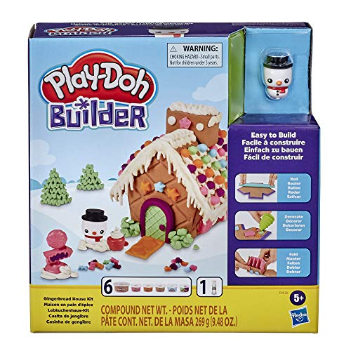 Play-Doh Builder Gingerbread House Toy Building Kit for Kids 5 Years and Up with 6 Non-Toxic Colors - Easy to Build DIY Craft Set