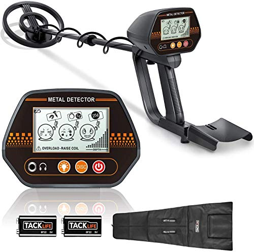 """TACKLIFE Metal Detector MMD02, Adjustable Metal Finder (24""""-45"""") for Adults and Kids with Larger Back-lit LCD Display, 3 Audio Tone & DISC Modes, 7.8"""" Waterproof Search Coil, Portable Bag Included"""