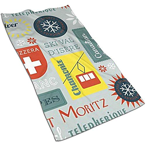 Snow Retro Ski Badges Microfibra Toallas de Mano Toallas Toallas de Secado rápido Toallas Deportivas (40x70cm) Uso para Viajes, Fitness, Yoga