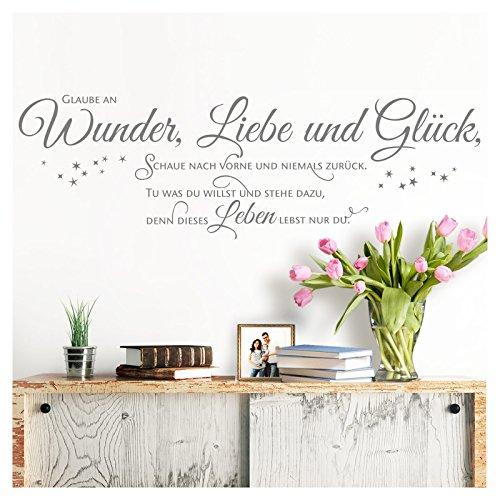 Grandora Wandtattoo Spruch Glaube an Wunder Liebe und Glück I Mittelgrau (BxH) 90 x 28 cm I Wohnzimmer Flur Sticker Aufkleber Wandsticker Wandaufkleber W5393