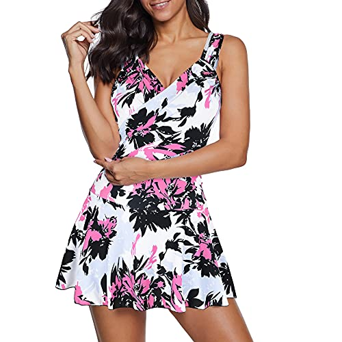 Zando One Piece Bathing Suit for Women Tummy Control Swimsuits Plus Size Swimsuit Modest Tankini Bathing Suits One-Piece Swim Suit Swim Dress Swimsuits for Women with Shorts Flower Pink White 12-14