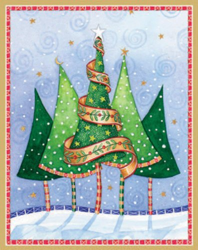 Entertaining with Caspari Trees in Snow Christmas Cards with Unlined Envelopes, Box of 16
