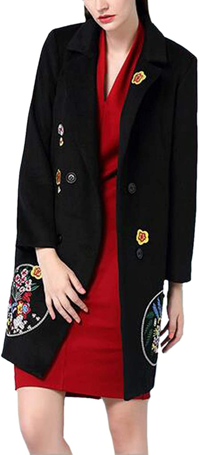 Embroidery Print Front Mid Length Vintage Solid Retro Coat For Women