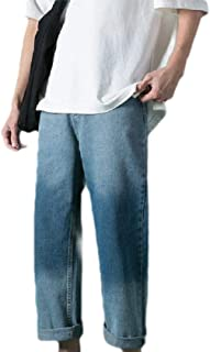MogogN Mens with Pocket Ombre Colorblock Straight Standard-Fit Jean Trousers