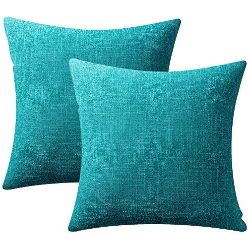 Azume - Juego de 2 fundas de cojín decorativas de lino texturizado para sofá, silla, salón, Azul lago, 18' x 18'