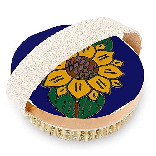 Cepillo de baño corporal, cepillo exfoliante de madera de bambú, elimina las células muertas de la piel y toxinas, mejora los linfáticos para cepillado húmedo o seco, azulejo mexicano girasol azul