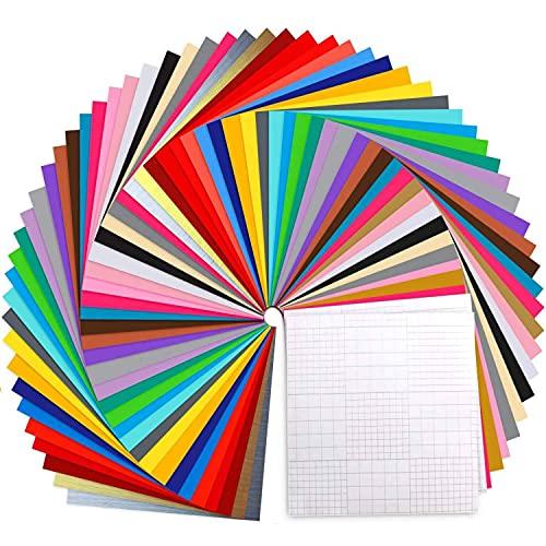 Ohuhu Vinylfolie Plotter 70 Stück, 30.5 x 30.5 cm Selbstklebende Folie für Cricut - 60 Vinylfolie+10 Transferband Blätter, für die Dekoration von Partys oder Feiertagen(30 Farben)