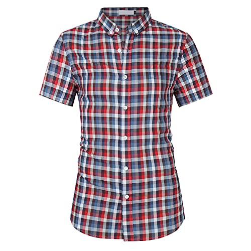 SSBZYES Camisa De Verano para Hombres Camisa De Manga Corta para Hombres Camisa a Cuadros para Hombres Camisa De Manga Corta para Hombres con Solapa a Cuadros De Gran Tamaño Top para Hombres