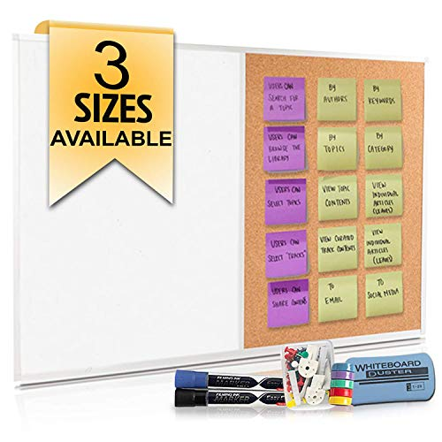 "Cork Board and Dry Erase Board Combo (18 x 24"") Magnetic Bulletin Board for Home or Office, Use as Vision or Message Board, Wall Mounted White Board Cork Board Combo"