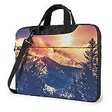 Nature Sun Snowy Hills and Trees Impreso Laptop Bag, Bolso Business Shoulder Messenger Bag Maletín