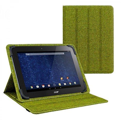 eFabrik Schutztasche für Acer Iconia Tab 10 A3-A30 10.1 Zoll Tablet Wendehülle Tasche Hülle Cover türkis-grün grau Leinen