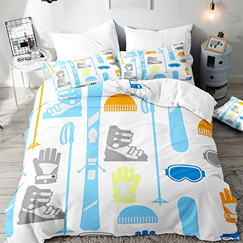 Duvet Cover Set for Single Double Super King Size Bed, Morbuy 3D Ski Printed Microfiber Sport Style Bedding Sets Duvet Set with Pillowcases and Quilt case (Blue Art,Super King-220x260cm)