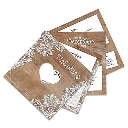 10 x Hochzeitseinladungen Hochzeit Einladungskarten Einladungen individuell Fächerkarten Fächer - Rustikal mit weißer Spitze