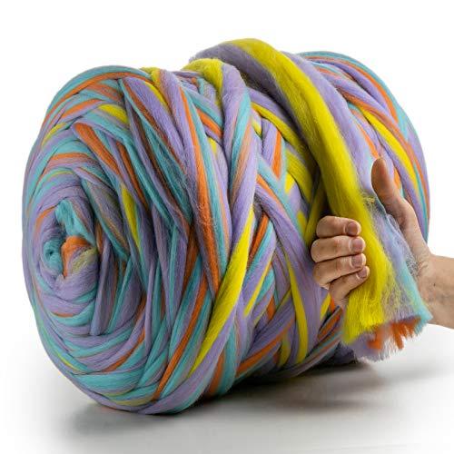 MeriWoolArt 100% lana de merino para punto y ganchillo con hilo de 4-5 cm de grosor, lana de merino gruesa para bufanda, manta y almohada XXL (Unicorn, 250 g)