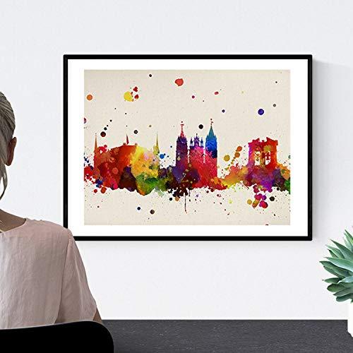 Nacnic Lámina Ciudad de Leon. Skyline Estilo Acuarela y explosión de Color. Poster tamaño A3 Impreso en Papel 250 Gramos y tintas Decoración del hogar. Diseño al Mejor Precio. con Marco Negro A3