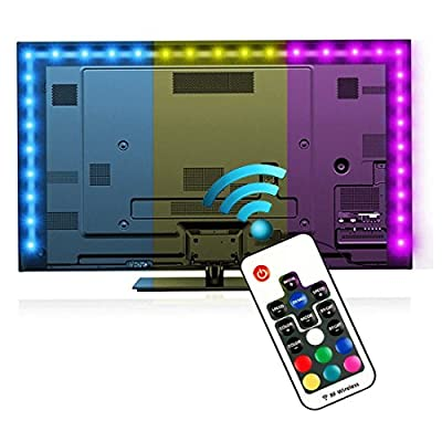 Bias Lighting for HDTV (78.7in / 2m) with Remote Control - EveShine Multi-Color RGB TV LED Backlight Strip Lighting Kit for Flat Screen TV LCD, Desktop Monitors - Fits Any TV Size Up to 60?? - Black