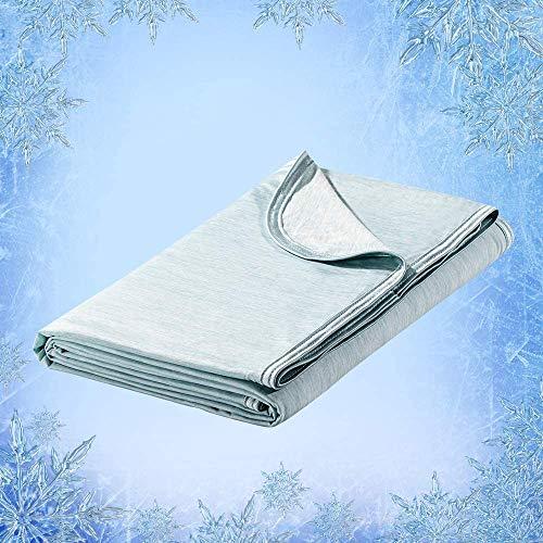 Elegear 2in1 Mikrofaser Selbstkühlende Decke, Kühldecke Arc-Chill Kuscheldecke aus Baumwolle Weiche Wohndecke Warm Sofadecke Reisedecke zweiseitige Decke für Erwachsene und Kinder - Grün 200 x 150 cm