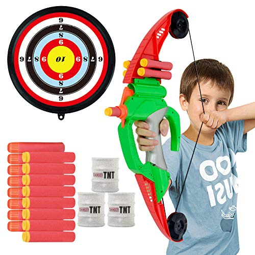 CIRO Action Archery Bow and Arrow Set with Target, Soft Bullets Darts, Outdoor Shooting Toys for Kids 6-12 Years Old