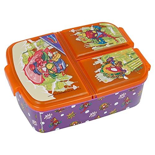 Sandwicheras con 3 Compartimentos para niños - lonchera Infantil - Porta merienda - Fiambrera Decorada (Superzins multiple)
