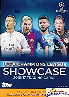 2017 Topps UEFA Champions League Showcase Soccer EXCLUSIVE Factory Sealed Retail Box with BONUS 5 5 ORANGE PARALLEL Cards! Look for Cards & Autographs of Ronaldo, Messi, Neymar & Many More! WOWZZER!