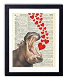 Hippo With Hearts Upcycled Vintage Dictionary Art Print 8x10