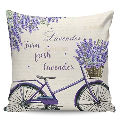 Winter Rangers Fundas de almohada decorativas, diseño de lavanda fresca de granja para bicicleta, estilo pastoral, ultra suave, funda de cojín cuadrada cómoda para sofá dormitorio, 61 x 60 cm