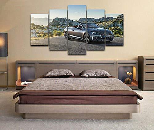 5 Piezas Material Tejido No Tejido Impresión Artística Imagen Coche Audi S5 Cabriolet Tfsi 2020 Dormitorios Decoración para El Hogar -No Tejido Lienzo Impresión- Modular Poster Mural