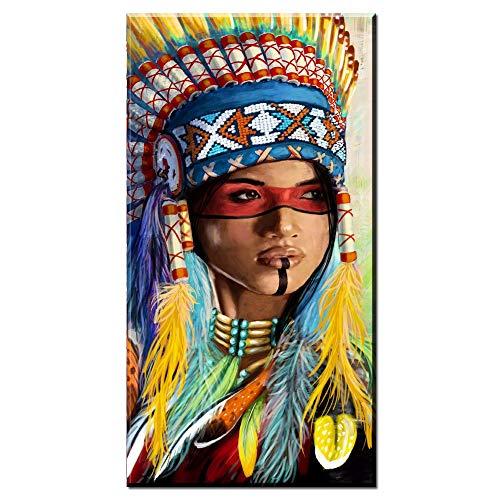 Karen Max Hochformat-Leinwandbild für Wohnzimmer, indische Frau, gefedert Stolz Gemälde, Heimdekoration, Bedruckt Modern 80x160cm No Frame