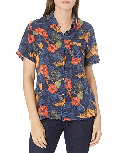 Amazon Brand - 28 Palms Women's 100% Rayon Hawaiian Aloha Blouse Shirt, Watercolor Orange Hibiscus, XX-Small