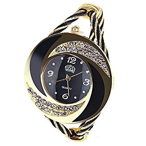 Elegant Round Dial Crystal Decoration Bangle Cuff Bracelet Watch for Women Ladies (Black)