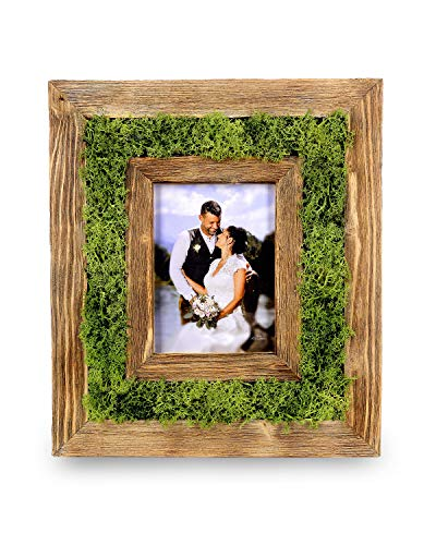 Foto Lebesmühlbacher Moosbild - Altholz Bilderrahmen   Dekorrahmen aus echtem Moos   Altholzrahmen mit einem Stück Natur (15x20cm Bildgröße)