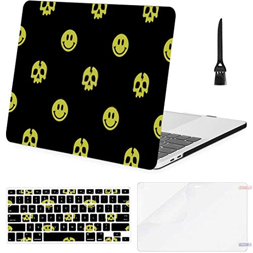 MacBook Pro Case Skull Smile Seamless Pattern Yellow Black MacBook Air 13' A1369/A1466 Plastic Case Keyboard Cover & Screen Protector & Keyboard Clea