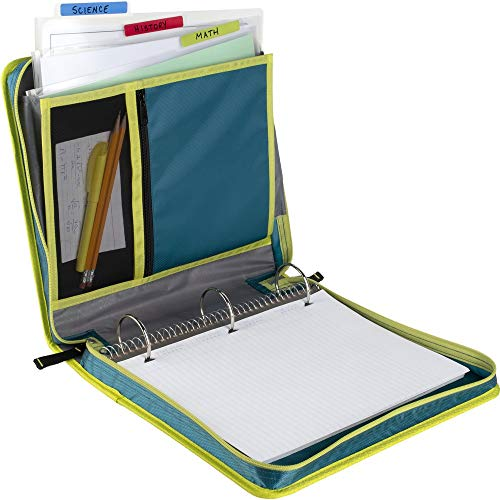 Five Star Zipper Binder, 2 Inch 3 Ring Binder, Removable File Folders, Durable, Teal/Chartreuse (29036IH8) Photo #5