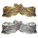 Eeauytr Anillo de alas de ángel, anillo de plata ajustable retro, anillo de banda abierta, regalo del día de San Valentín para los amantes de las parejas