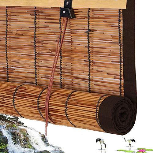 Estores Enrollable de Bambú,Cortina de Caña,Bambú Roller Romana,Blind Cierre por Hilo de Nailon con Polea,Interiores y Exteriores Ventana Persianas,Ribete Marrón,Múltiples Tamaños (80x200cm/32x79in)
