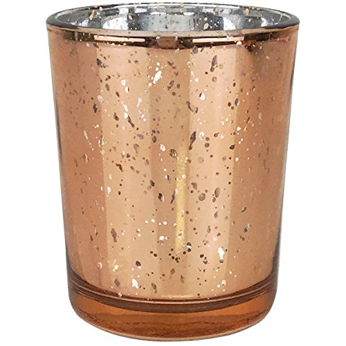 YarStore Versatile Chic Practical Mercury Votive Candle Holder (1pcs, 2.75' H, Speckled Rose Gold) - Home and Wedding Mercury Glass Candle Holders