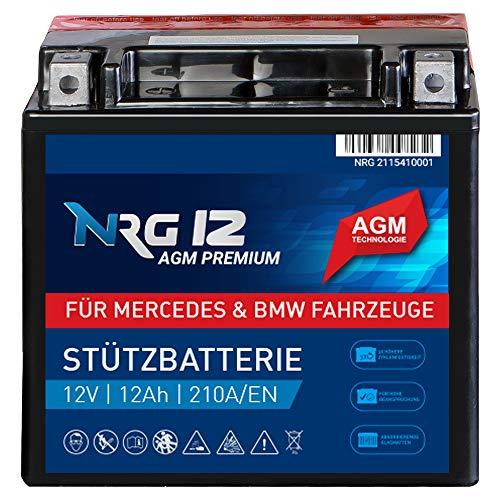 NRG Premium Stützbatterie 12V 12Ah AGM Backup Batterie A2115410001 und 61217586977 Longlife Technologie Trocken Vorgeladen Absolut Wartungsfrei