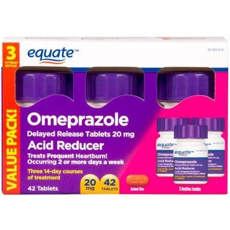 Equate Omeprazole Delayed Release Tablet 20Mg Acid Reducer New Value Pack Size 84 Count