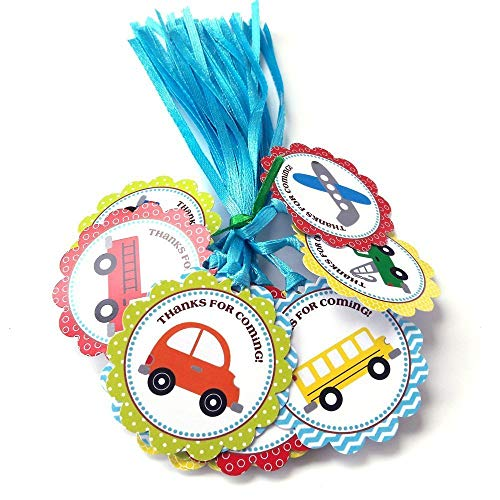 Transportation Thank You Favor Tags - Kid Boy Girl Birthday or Baby Shower Party - Set of 24