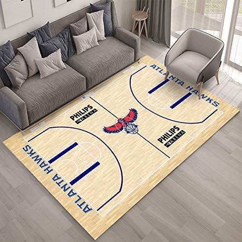 xuejing Alfombra Creatividad NBA Atlanta Hawks Sala De Estar Dormitorio Mesita De Noche Mesa De Centro Rectangular Sofá De Estudio Decoración del Piso del Hogar Personalidad Antideslizante